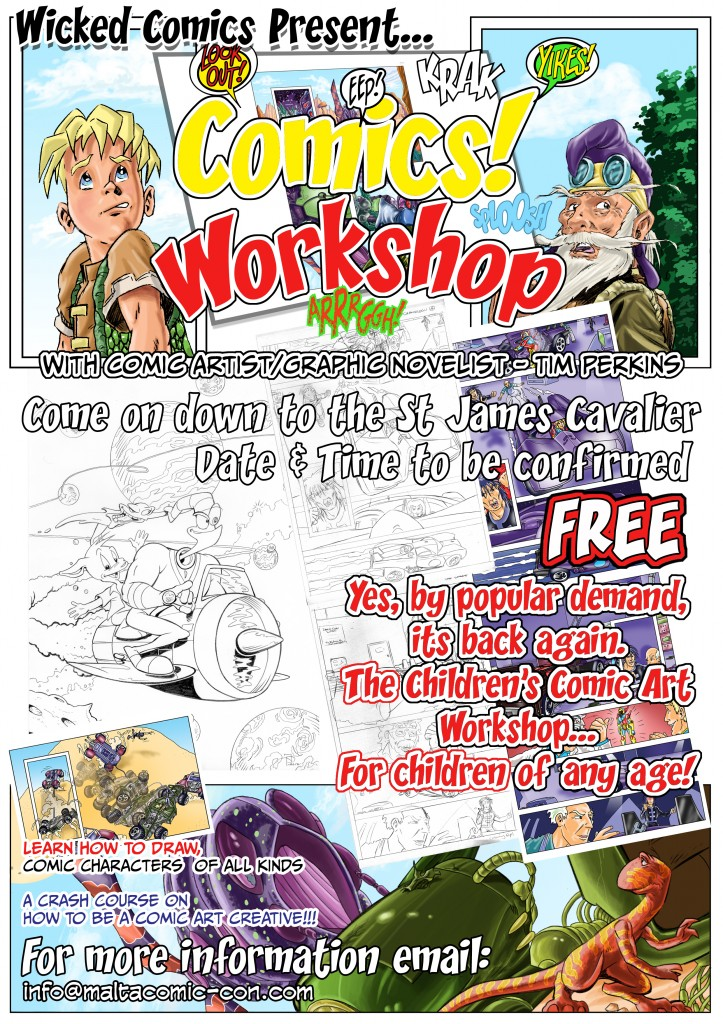 005 MaltaComicCon5-2103 Childrens Workshops E-Flyer