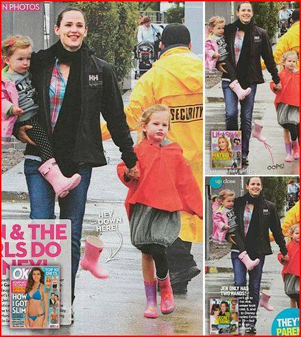 Jennifer Garner and daughter Violet with Stephen Joseph Butterfly Rain Boots in OK!, Life & Style and InTouch Magazine!
