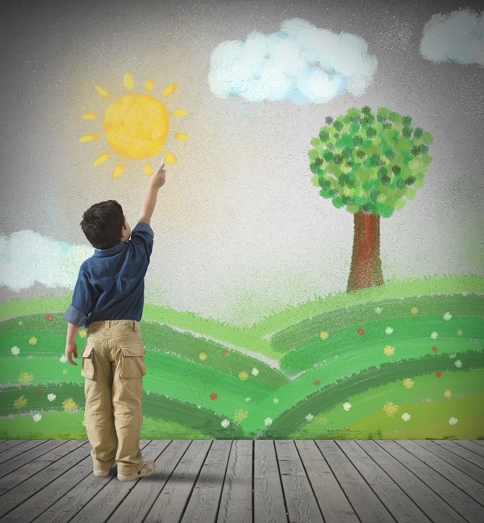 boy sun tree painting